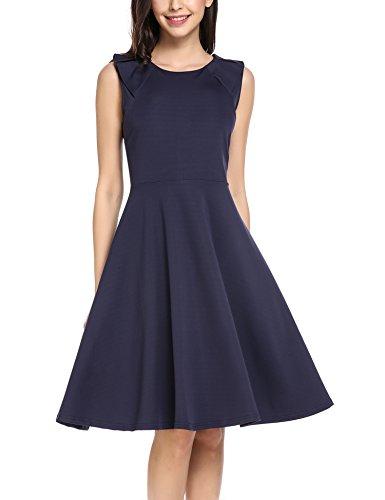 Zeagoo Damen Elegante Sommerkleider Cocktail Partykleid Festlich Hochzeit Kleid Ärmlos A Linie Knielang Blau M