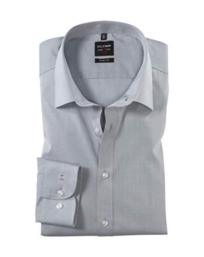 Olymp Herren Hemd Level 5 Body Fit Langarm, Silber, 40