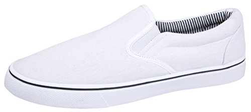Men's Slip On White Plimsoles. Ideal for Wham, Miami Vice look