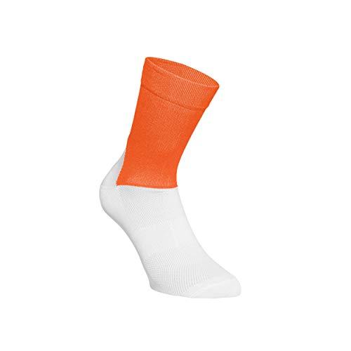POC Herren Essential Road Socks, Zink Orange/Hydrogen White, LRG (Sport-programm Frames)