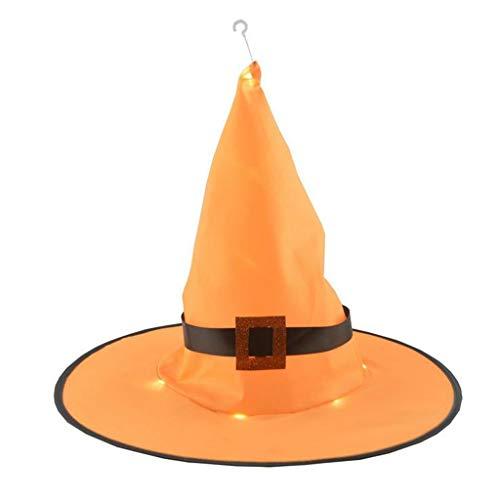 TianranRT❤Halloween Hut, Glitzernde Orange Hexenhut Erwachsene Hexenhut Halloween Kostüm Kopfbedeckung Cosplay Partyzubehör
