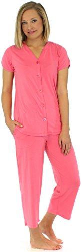PajamaMania Ensemble de pyjama femme manches courtes à boutons vêtement de nuit Fuchsia