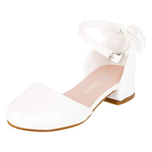 Edle Festliche Mädchen Pumps Ballerinas mit abnehmbarem Riemchen Perlenschleife M548ws Weiß 31 EU