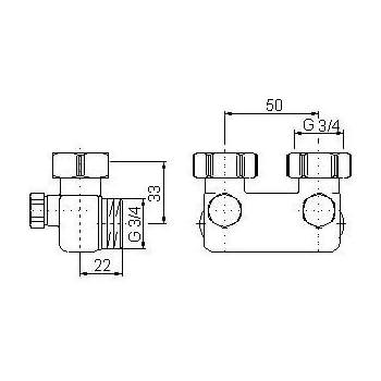 simplex umlenkst ck d2 50 mit absperrung f r heizk rper mit 3 4 ag durchgangsform vernickelt. Black Bedroom Furniture Sets. Home Design Ideas