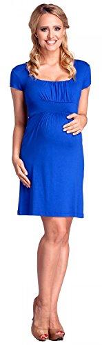 Happy Mama. Damen Umstands-Kleid Empire-Taille. Schwangerschafts Kleid. 081p Königsblau