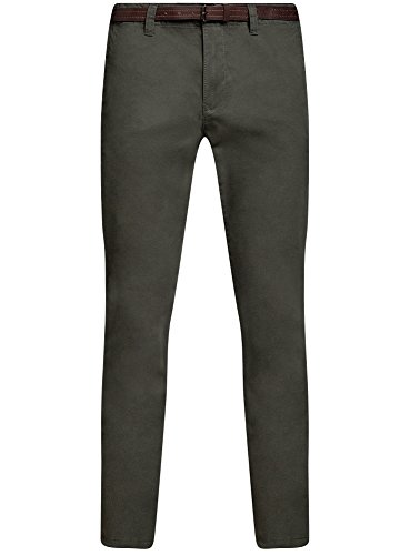 oodji Ultra Homme Pantalon Chino avec Ceinture Vert (6600N)