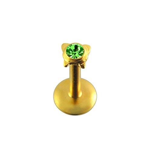 Licht grün Crystal Stein Schmetterling Push-Fit Top Gold eloxiert 16 Gauge - 8MM Länge 316L chirurgischer Stahl Madonna Lippe Labret Tragus Bar Piercing