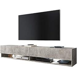 Selsey Wander - Meuble TV Suspendu/Banc TV avec LED (180 cm) (béton)