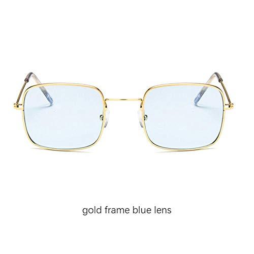 Loving Bird Unisex Small Square Sonnenbrille Damen 2019 Retro Yellow Sonnenbrille Herren Ocean Clear Lens Sommerbrille Metallrahmen Eyewear UV400, Gold-blau