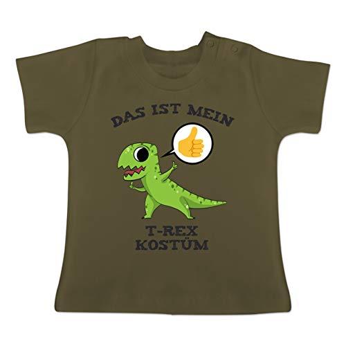 Karneval und Fasching Baby - Das ist Mein T-Rex Kostüm Comic - 1-3 Monate - Olivgrün - BZ02 - Baby T-Shirt Kurzarm
