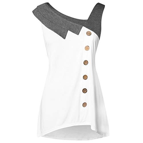 IMJONO T-ShirtDamenweiß,Damenmode Plus Size Skew Neck Asymmetrisches Trägershirt Ärmelloses T-Shirt mit Knopfleiste(X-Large,Weiß)