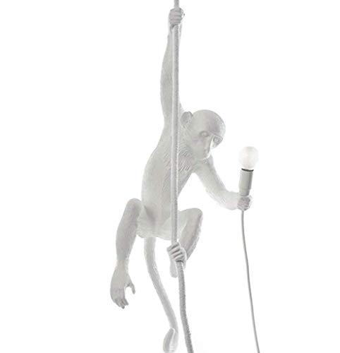 ZXM Affenlampe Pendelleuchte Mit Seilharz Kronleuchter Nordic Creative AFFE Deckenleuchte, E27 Acryl AFFE Hanfseillampe Pendellampe LED Kronleuchter, Restaurant Schlafzimmer Studio Geeignet,Weiß