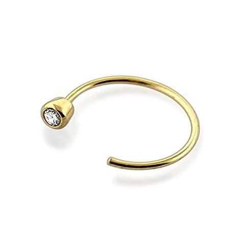 9ct Solid Yellow Gold 20 Gauge ( 0.8MM ) - 8MM Diameter Bezel set Gemstone Open Hoop Nose Ring