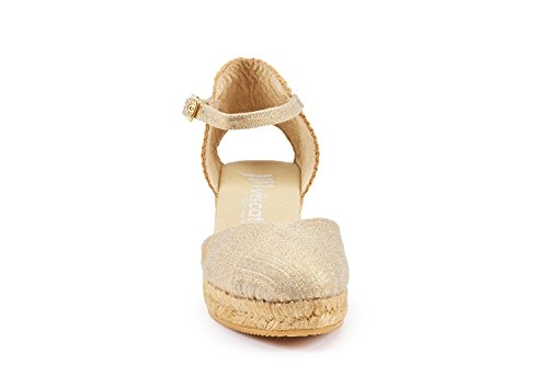 VISCATA Pubol Ankle-Strap, Closed Toe, Classic Espadrilles with 2-inch Heel Made in Spain gold