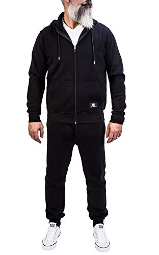 Rock Creek Herren Jogging Anzug Trainingsanzug Sportanzug Jogger Fitnessanzug Sweatshirt Trainingshose Trainingsjacke H-166 Schwarz XXXXXL