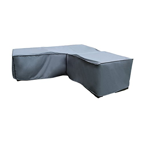 Funda / Cover / Protectora para Sofá de la esquina | 270 x 210 x 85 x 65/90 cm (L x A x A) | Gris | Resistente al Agua | SORARA | Poliéster (UV 50+) | Para exterior Muebles de Jardín, Terraza, Patio