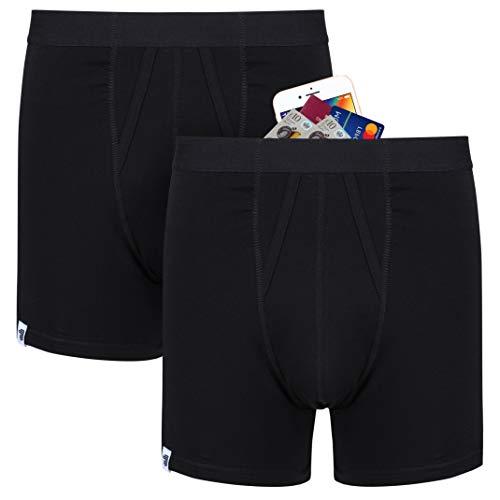 Anti-Diebstahl Taschendiebe protection boxershorts mit groBe geheim reise geld tasche. 2 pack (Schwarz) Größe M
