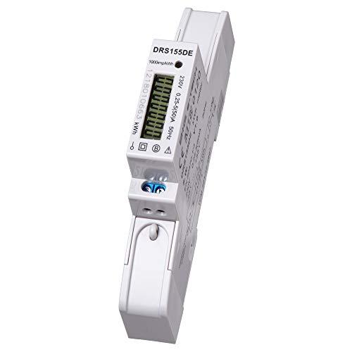 B+G E-Tech DRS155DE - LCD digitaler Wechselstromzähler Stromzähler MID GEEICHT/BEGLAUBIGT 5(50) A mit S0 für DIN Hutschiene Digitale Stromzähler