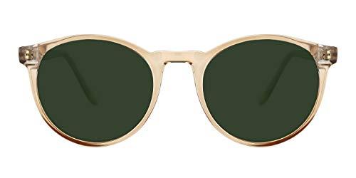 TIJN Polarisierte Sonnenbrille für Frauen Männer丨Vintage Runde Sonnenbrille mit Etui丨100% UV400 Schutz