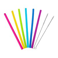 SHREWAS Silicone Drinking Reusable Straight Straw With Brush 6Pcs