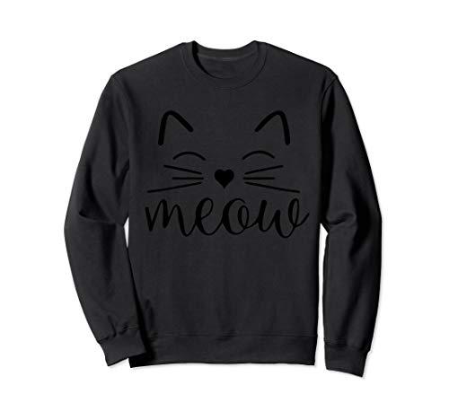 Cat Crazy Kostüm Lady Halloween - Meow Niedliches Katzengesicht Lustiges Kostüm Sweatshirt