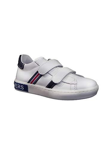 Pretti Shoe Sneakers Bassa in Pelle con Velcro Bianco Blu, 28