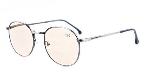 Eyekepper Spring Cerniere Classico Stile Retro Occhiali Coputer Occhiali da Vista (Ambra Colorati, Trasparente) +0.5