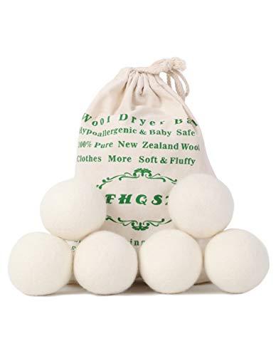 FHQSX Wolle Trocknerbälle für Trockner, aus 100{cf431419cbb0e9360300d9460f467a94a3dbb6ba4afa7a438205878d59abe8ef} Neuseeländischer Premium-Schafwolle, XL - 6er Pack