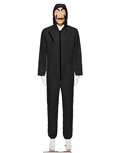 UnisexLa Casa De Pape Overall Dali Latex Maske Cosplay Jumpsuit Body Suit Rot Anzug Halloween Kostüme Herren Arbeitsbkleidung Arbeitsanzug (Schwarz Overall, X-Large)