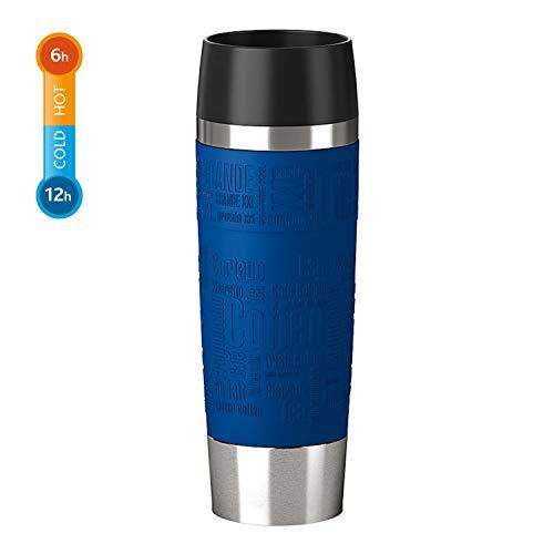 Emsa 515618 Travel Mug Standard-Design Grande, Thermobecher/Isolierbecher, 500ml, hält 6h heiß/ 12h kalt, 100{2bd8cf459559c9b5b42d029100dd9b8457008a4f562fca7aca2858cbb643bcc9} dicht, auslaufsicher, Easy Quick-Press-Verschluss, 360°-Trinköffnung, Farbe blau