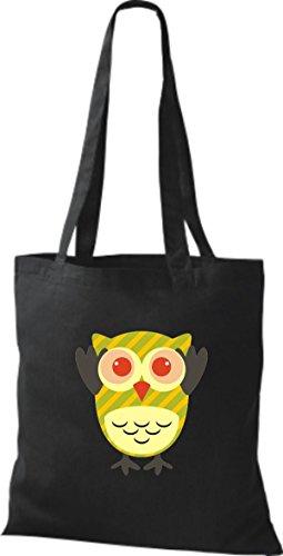 ShirtInStyle Jute Stoffbeutel Bunte Eule niedliche Tragetasche mit Punkte Owl Retro diverse Farbe, weiss schwarz