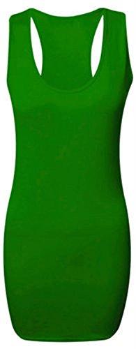 Nouveau dames Plus Size Muscle Vest moulante robe de gilet ajusté 36-50 green