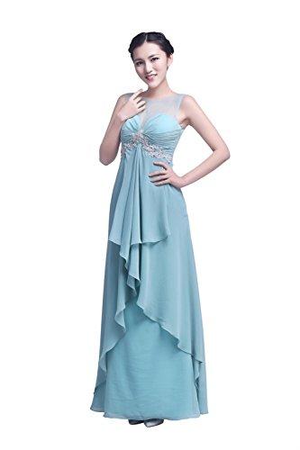 YiYaDawn Langes Abendkleid Ballkleid Festkleid Ballkleid für Damen Blasstürkis