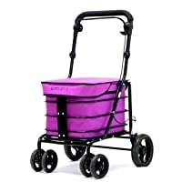 Carlett Lett700 Deluxe Walk & Rest Folding 6 Wheel Swivel Shopping Trolley with Seat Park Brake and Safety Brake