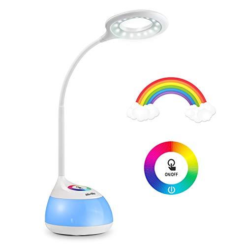 Albrillo LED Lámpara de Escritorio - Lámpara de Mesa Niños con 256 Cambios de Color, 3 Brilllos Ajustable por Panel Táctil, Placentera para los Ojos, USB de carga, Blanco