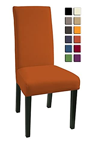 SCHEFFLER-HOME Mia Microfiber Chaircovers 2 pieces, Stretch Chair Cover, Bi-elastic modern Slipcover, Decor Lycra fabric Protective Cover with elastic band, universal nosefitting by spandex, elastic Span-Cover, easy to clean and durable - Terra