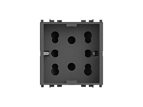 4Box 4B.V19.H21 Presa Multistandard 1 Schuko o 2 Bipasso Compatibile con Vimar Arkè, 250 V, Grigio