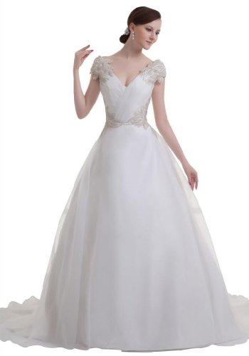 GEORGE BRIDE Prinzessin charmante Duchesse-Linie tiefem V-Ausschnitt Brautkleid, Groesse 42, Weiss