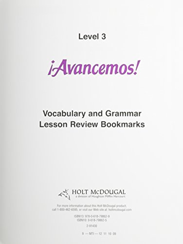 Avancemos! Lesson Review Bookmarks Level 3 Grades 9-12: Mcdougal Littell Íavancemos! par McDougal Littel