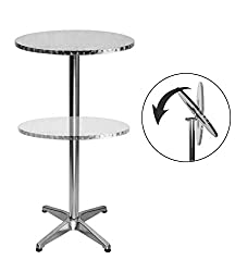 LXDUR Bistro foldable round aluminium bar table 2 adjustable heights cafe 24 inches high restant table …