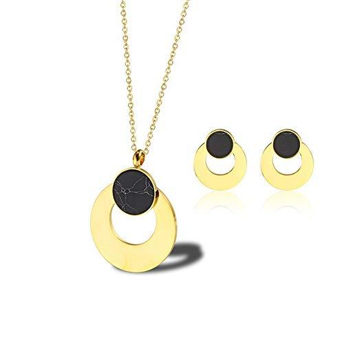 LIUSHUGUANG Elegante Brautschmuck Sets Promi Engagement Schwarz Marmor Silber Kette Runde Ohrringe Kreis Anhänger Halsketten Für Frau,Gold