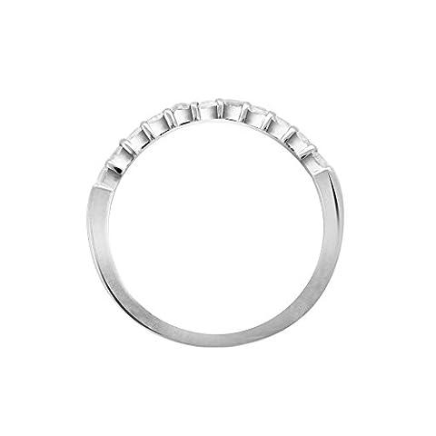 Libertini Women's 92 Kt White Color Silver Half Eternity Shaped 0.8 Ct Round Cut Diamond Ring Size: