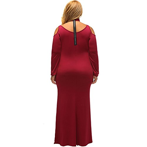 PU&PU Femmes Plus Size Formal / Travail / Party Neck Ring Side Slit Maxi robe, hors épaule col rond manches longues red