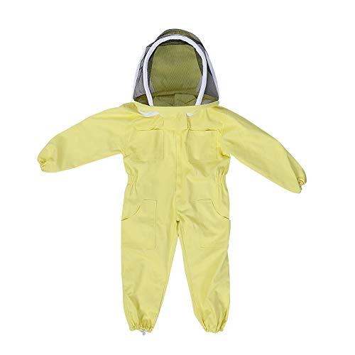 Zerodis Enfants Apicole Costume avec Voile de Protection Professionnel Jumpsuit Abeille Visiteur Coton à Manches Longues M L- Jaune (L)
