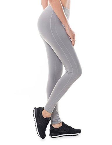 SYROKAN Femme Legging Longs de Sport Collant Capri Uni Lime Fitness Pantalon Gris