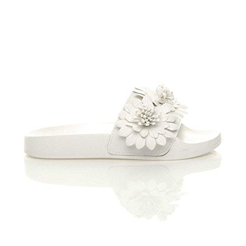 Femmes plat fourrure tongs sandales mules claquettes chaussons pantoufles pointure Blanc Fleur