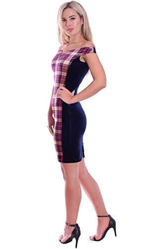 MontyQ Bodycon Damenkleid Mini Stretchkleid Bardot Stil Tartan Samt Multi