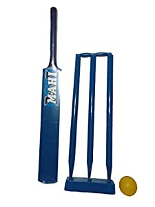 "arnav Junior Combo Wooden Cricket Kit; 1 Bat; 3 Wickets with Bails and Ball; 0 No; 24\ Bat and 18"" Wickets 2-3 Years Kids (Blue)"
