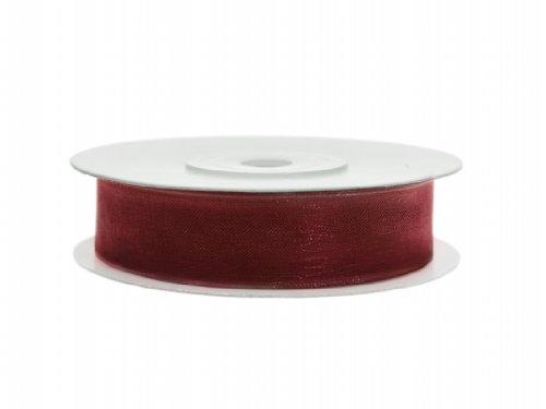 SiDeSo® Chiffonband 25m x 12mm viele Farben Hochzeit Organza Dekoband Geschenkband Antennenband Schleifenband (bordeaux rot) Chiffon-band