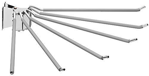 Gedotec Design Hosenhalter schwenkbar Hosenauszug Kleider-Schrank Kleiderhalter für 6 Hosen | Hosen-Lüfter mit Anti-Rusch Gummiüberzug | Stahl Chrom poliert | 1 Stück - Hosen-Aufhänger zum Schrauben